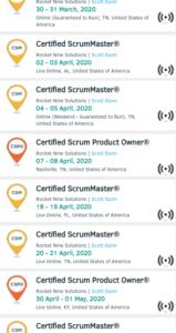 List of Scrum Alliance Virtual Classes