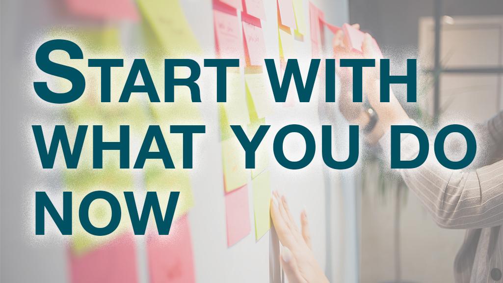 Start with what you do now, text over working kanban board, starting Kanban, Kanban certification, kanban training, Van Wray, lean kanban, kanban university, kanban maturity model, kanban system design, kanban change management