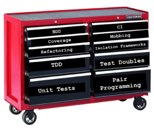 developer tool chest showing drawers labeled with effective scrum development practices